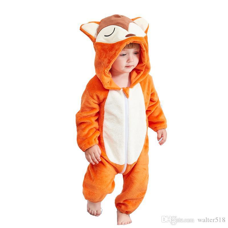 b720408d4 Boys Girls fox Pajamas Kids Funny Flannel Animal Onesies Sleepwear Children  Winter Autumn Boys Costumes for 1-24month JY-001