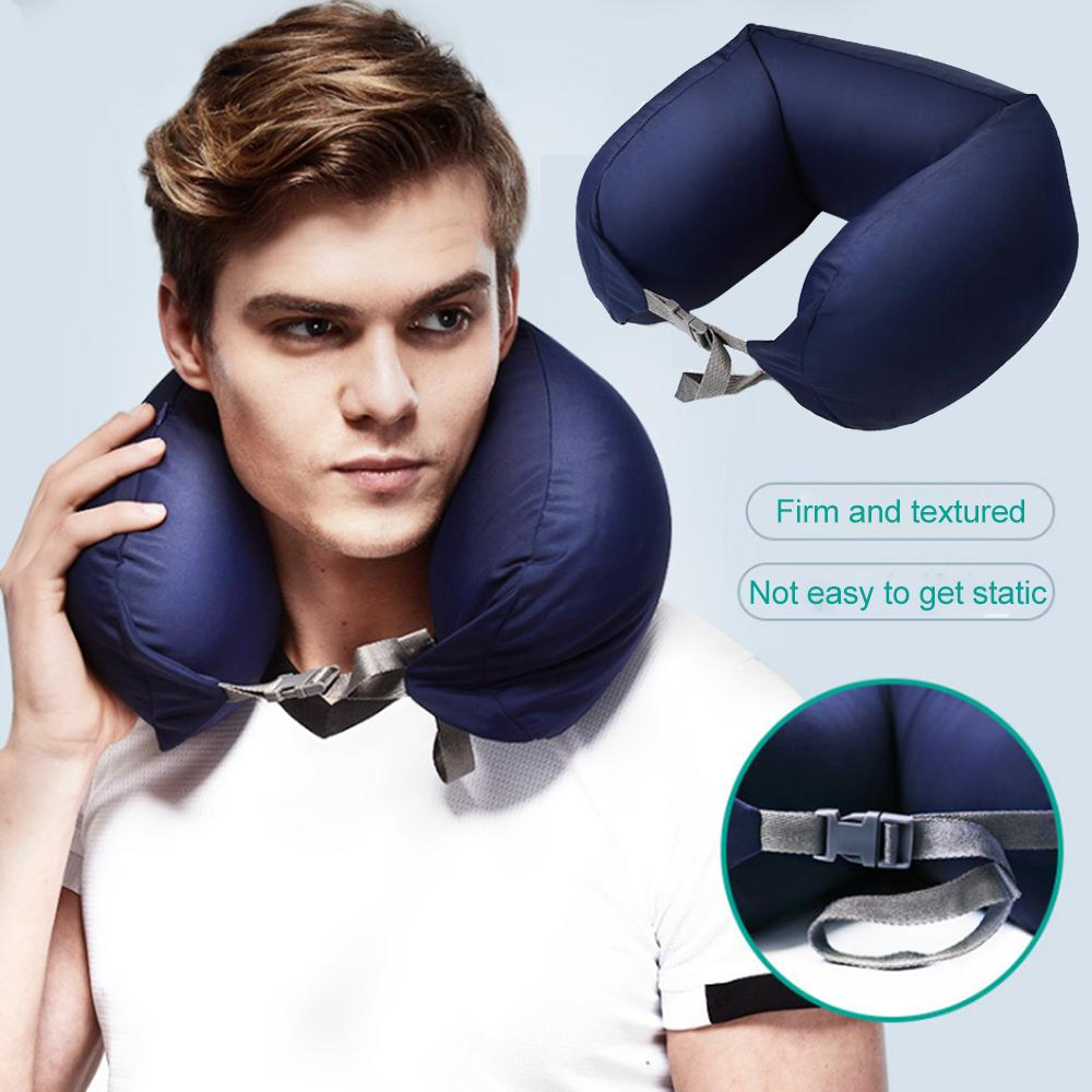 JINSERTA Portable Foam particles U Shaped Neck Pilow Headrest Seat Support Nap Pillow for Car Flight Travel Home Office