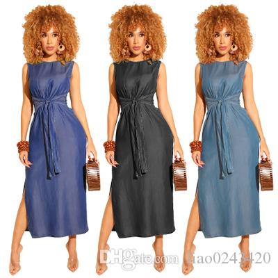 Liberi la nave Women Fashion Girocollo Plain Denim Cloth Dress Casual Elestic Waist Long Dress senza maniche