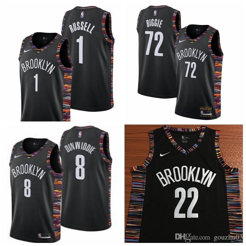best sneakers fa86d afa4e 2019 1 D'Angelo Russell Nets Jersey The City Brooklyn 72 Biggie Dinwiddie 8  LeVert 22 Basketball Jersey NEW