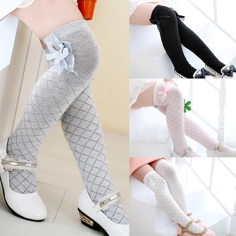 ebe97b7903e Children s Knee High Socks for Toddlers Kids Baby Girls Solid Bow-knot  Cotton Princess Dress Ballet Long Sock leg warmer