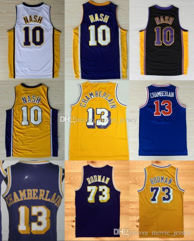 d6ea1068f5d Los Angeles 10 Steve Nash Lakers Basketball Jerseys 13 Wilt Chamberlain 73  Dennis Rodman Yellow Purple Stitched Online with  21.4 Piece on  Movie jersey s ...
