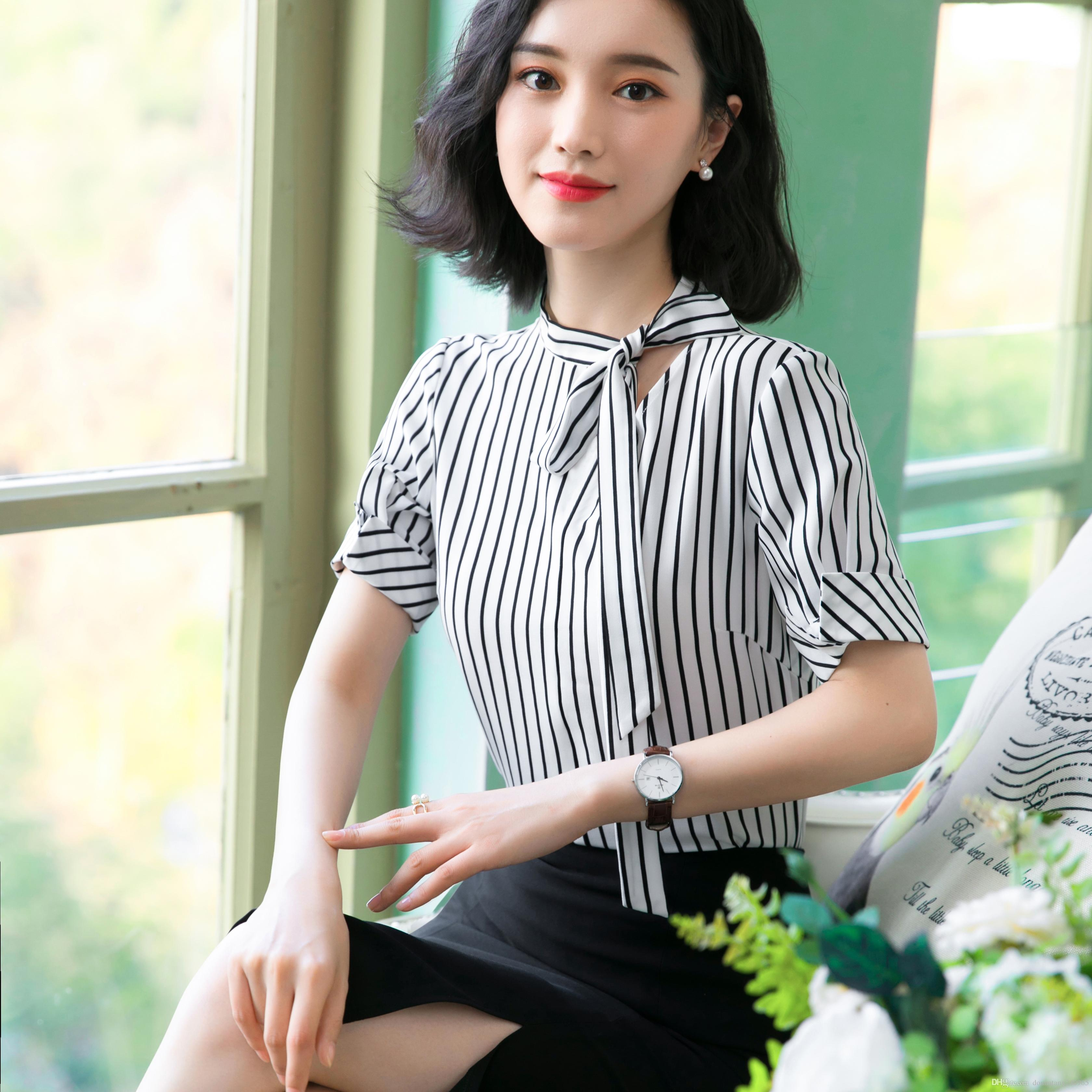 404bd535db 2019 2019 New Fashion Clothes OL Women Short Sleeve Tied Shirt Stripe Slim  Chiffon Blouse Office Ladies Plus Size Formal Tops From Donnatang240965