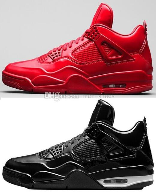 watch 16b84 24381 Best Quality 2019 4s 11Lab4 Red Patent Leather Basketball Shoes Men 4  11Lab4 Black Sports Sneakers With Box