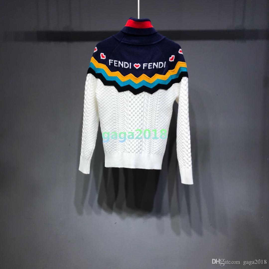 Frauen grils Pullover Strickjacke aus Baumwollstrickwolle aus Wolle Pullover TURTLENECK Lady Viscose Oberbekleidung Brief Streifen Gestrickter Anzug