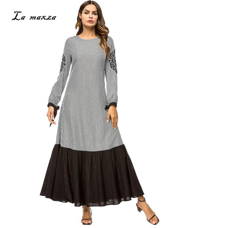 b88797e270079 Abaya Gowns Muslim Maxi Modest Dress Plaid Turkey Islamic Pakistani Kaftan  Dubai Evening Dress Muslim Party