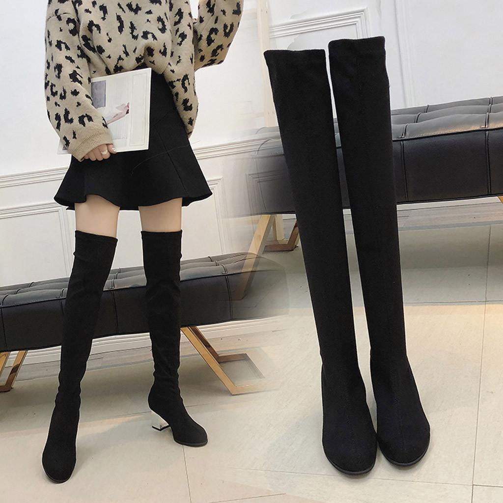 08f985fbf4fba Botas Mujer Invierno Zapatos Mujer Tacon 2018 Women Slip On Round Toe High Boots  Over The Knee Boots High Heels Party Shoes #91 Fashion Shoes Winter Shoes  ...