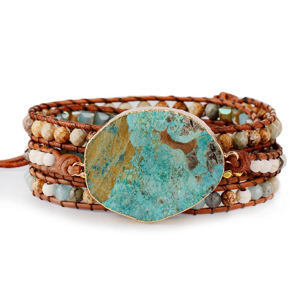 2fbec388f4e03 Women Leather Bracelet Unique Mixed Natural Stones Gilded Stone Charm 5  Strands Wrap Bracelets Handmade Boho Bracelet Dropship Bracelet Unique Wrap  Bracelet ...