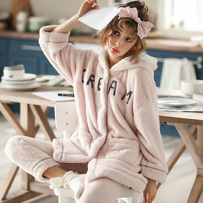 SKYYUE Winter Thicken Keep Warm Sweet Cute Women Pajamas Comfortable ... 599bd80a1