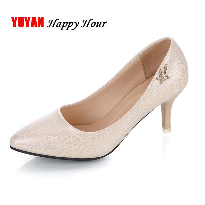 753c37917a42 Elegant High Heel Shoes Women Heeled Shoes Luxury Brand Women S Pumps  Office Ladies Thin Heel 6.5cm A541 Scholl Shoes Silver High Heels From  Deal8
