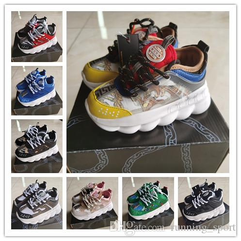 2020 Infant Chain Reaction Kids Running shoes Rubber Suede Youth Junior trainers big small boy girl Children Panelled Baroque sneakers