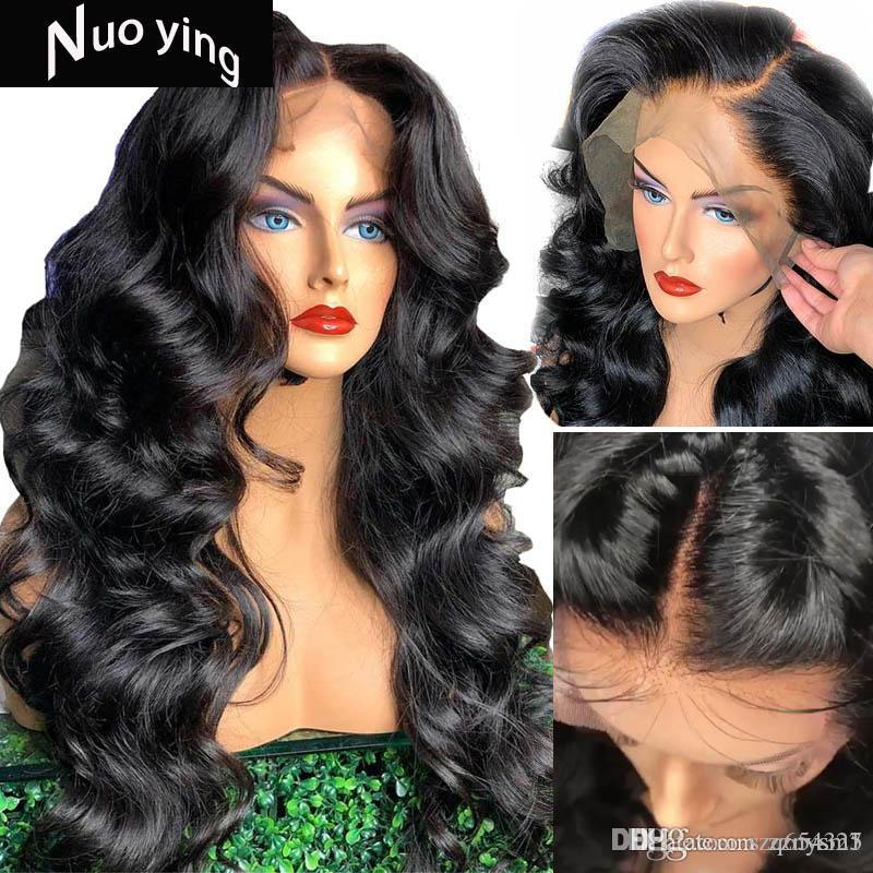 13x6 Deep Part 250 Density Lace Front Human Hair Wigs Preplucked with Baby Hair Remy Black for Women Loose Body Wave Atina Queen