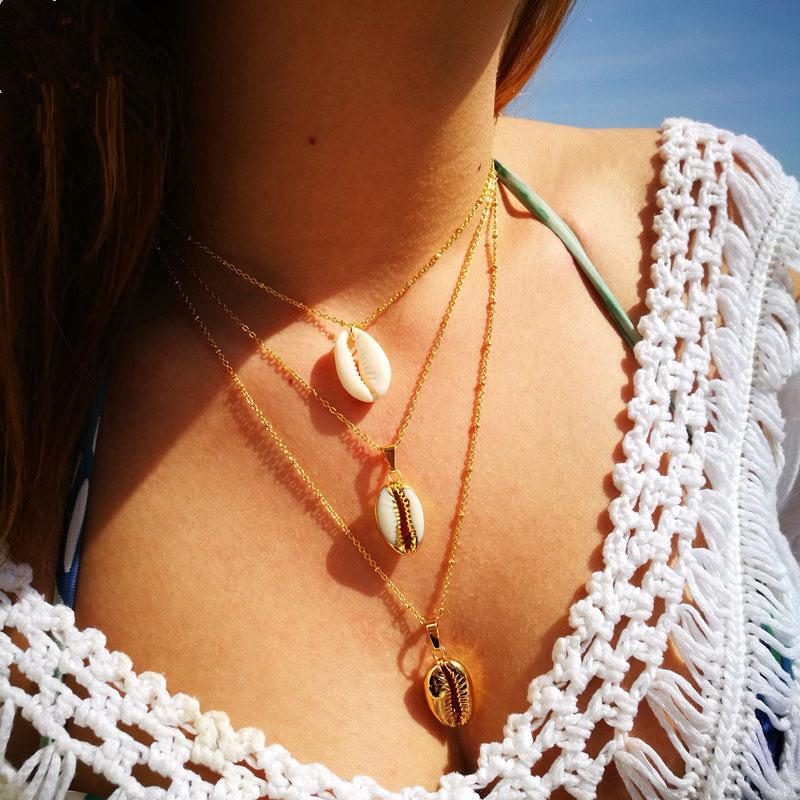 KOL Hot Sale 3 Shell Pendant Necklace for Women Bohemian Beach Choker Gold Chain Multilayer Boho Collier Femme Bijoux Ethnic Ketting KKA3798
