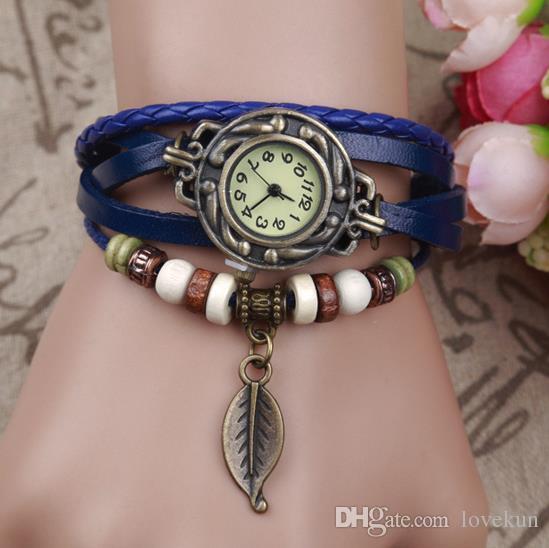 dfaab7da747 Women Leather Band WristWatches Charm Bracelet Retro Watches Vintage Eiffel  Tower Pendant Watches Weave Wrap Quartz Watches For Lady Black Watches  Wholesale ...