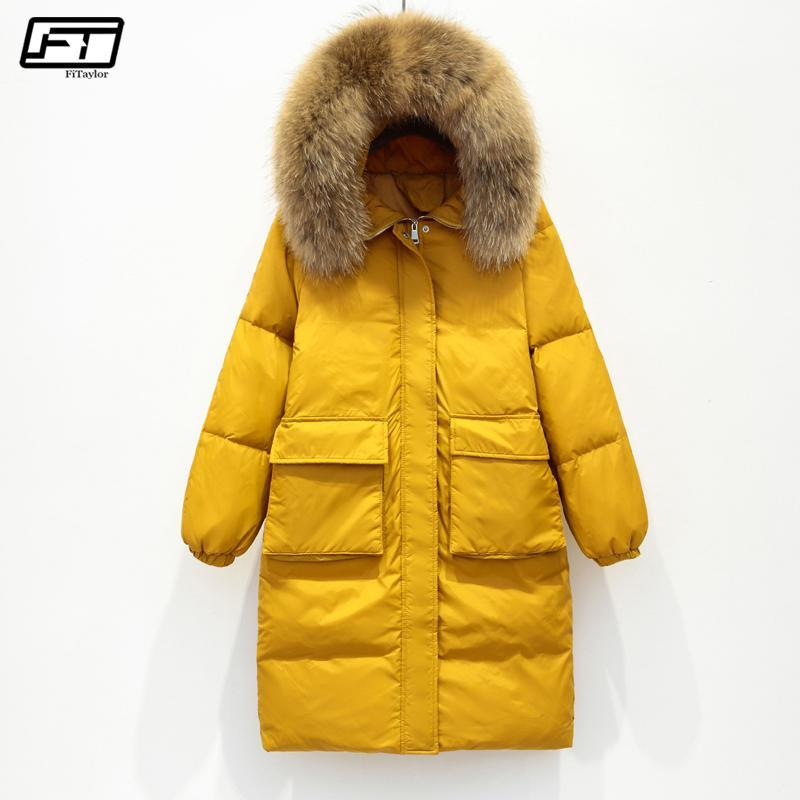 2be383d601a 2019 Fitaylor Winter Jacket Women Large Real Raccoon Fur Collar White Duck  Down Long Parkas Coat Female Hooded Pockets Snow Outwear From Quhai, ...