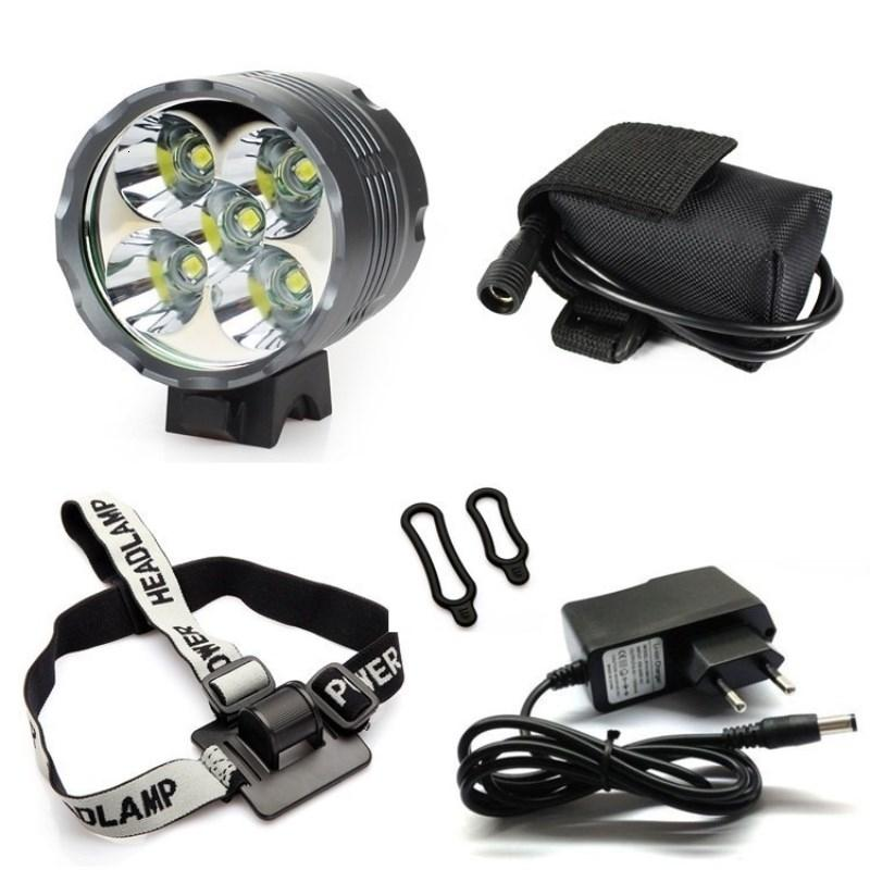 WasaFire Lantern 5*T6 LED Bicycle Light Headlight 7000 Lumen LED Bike Light Lamp Headlamp + 8.4V Charger + 9600mAh Battery Pack Y191211