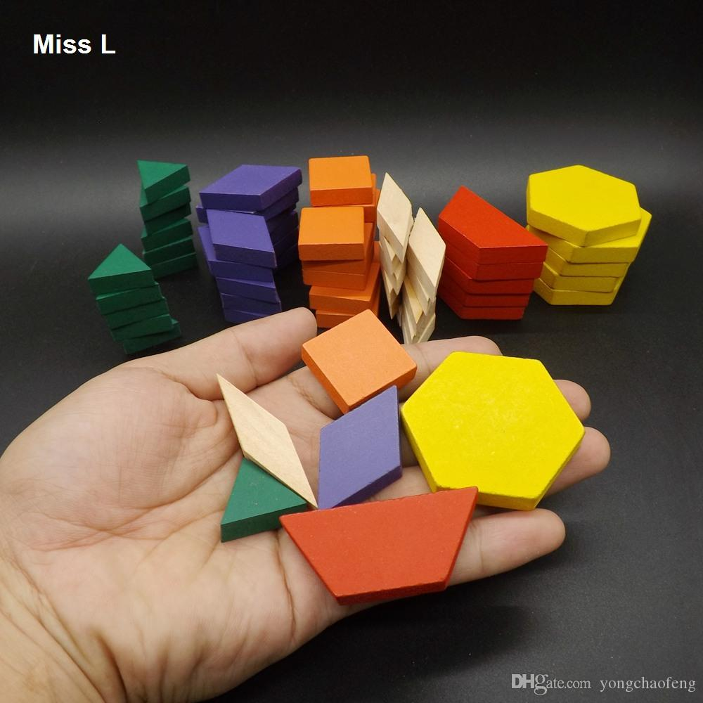 60 PCS Colorful Geometry Tangrams Logic Puzzles Wooden Toys Children Training Brain IQ Games Kids Gifts