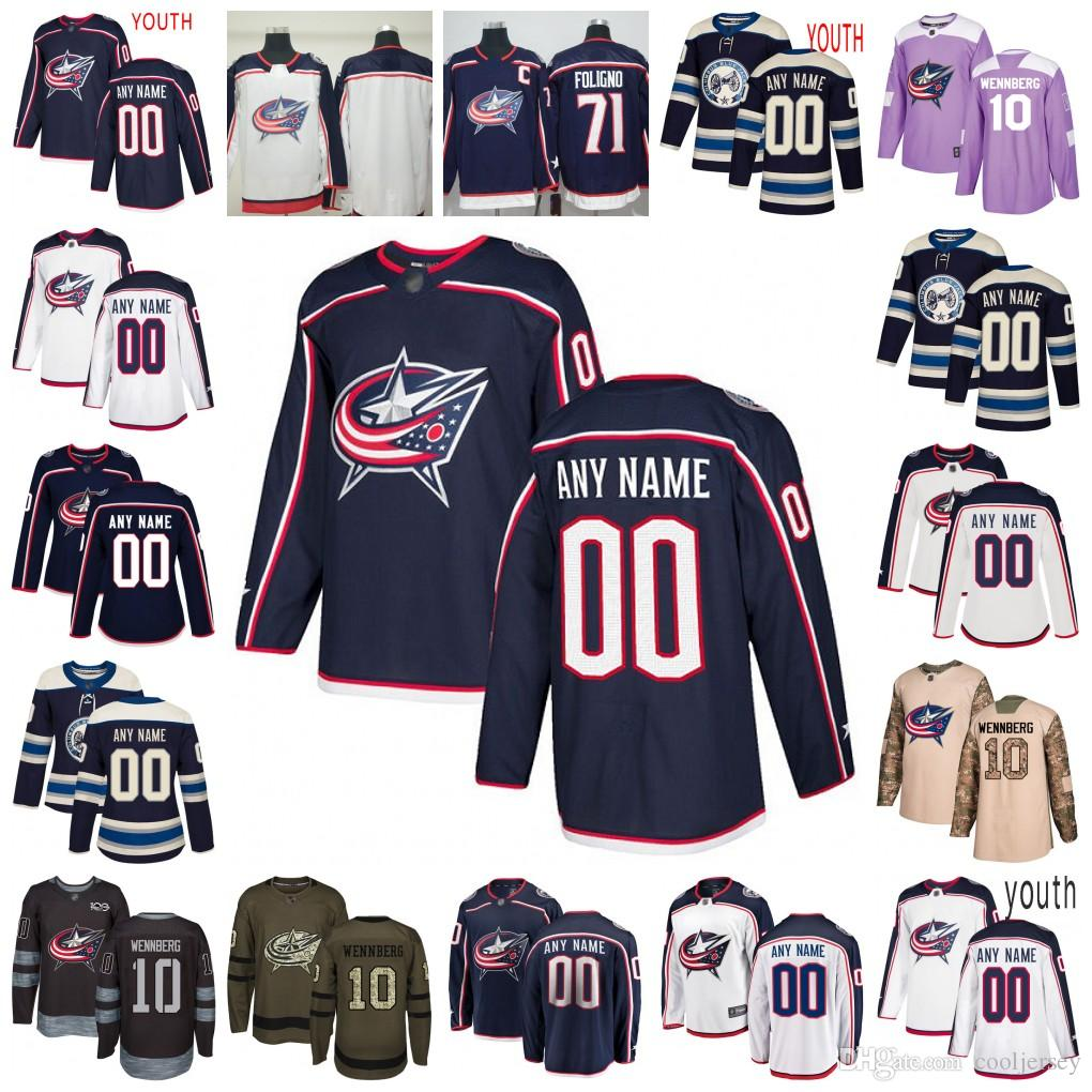 factory price 456ec a6e01 Custom Columbus Blue Jackets 20 Riley Nash 65 Markus Nutivaara 9 Artemi  Panarin 2 Andrew Peeke Eric Robinson Hockey Jersey Men Women Youth
