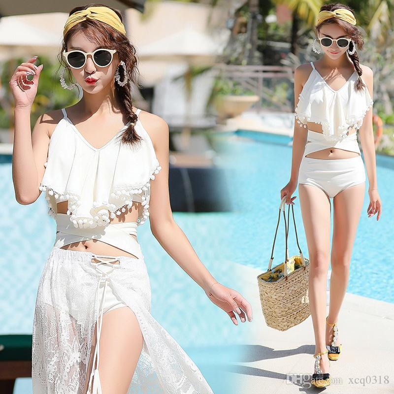 New swimwear female Korean version of the split bikini three-piece swimsuit female small chest gathered sexy hot spring swimsuit