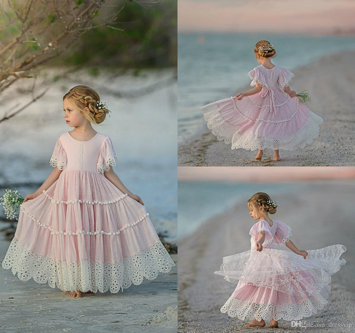 4dbf6de4f1 Pink Bohemian Flower Girl Dresses Lace A Line Ankle Length Jewel Neck  Little Girls Pageant Dress Custom Made Cute Kids Formal Gown Pretty Girls  Dresses Red ...