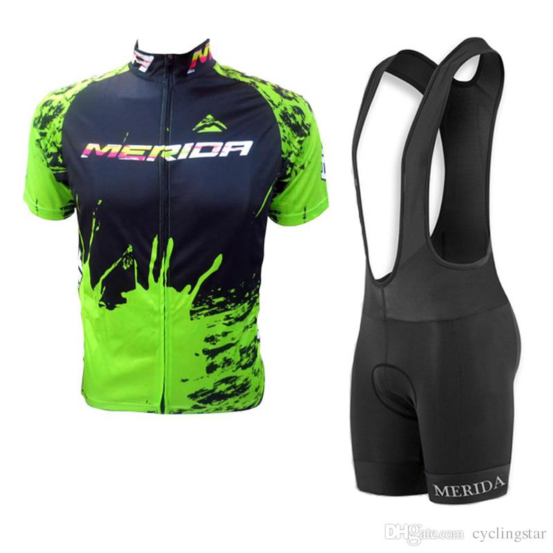 2019 merida team Cycling Jersey suit MTB bike shirt bib shorts set Bicicleta Maillot Men Cycling Clothes Racing Bicycle sportswear Y032706