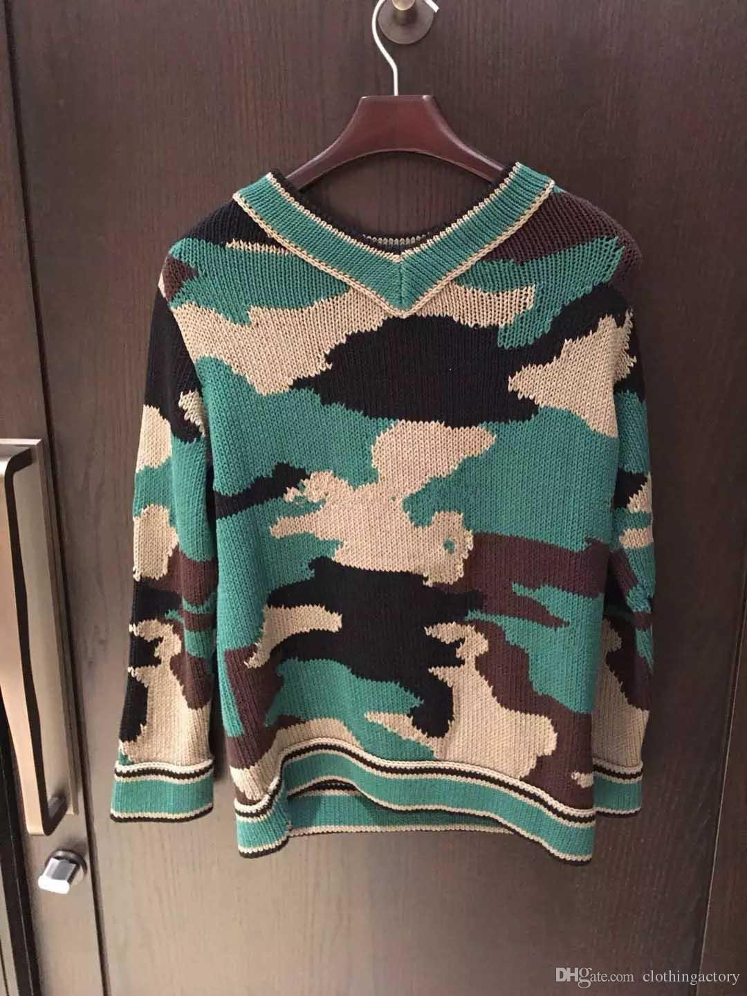 913a21809 2019 Army Green Camouflage Intarsia V Neck Slim Sweater Women 2018 Autumn  New Fashion Knitted Pullover Casual Women Clothes Size S L From  Clothingactory