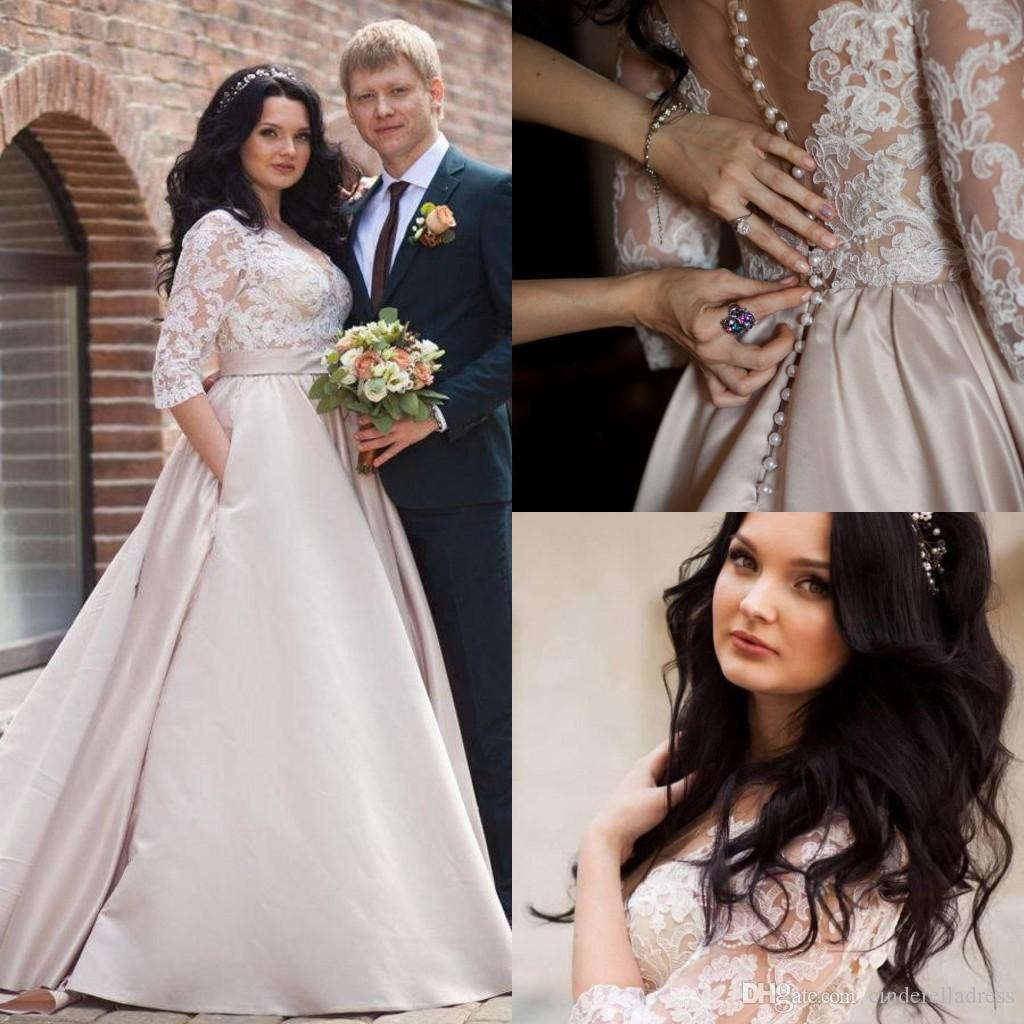 2019 Cheap Beautiful V-Neck Illusion Long Sleeve A-Line Satin Plus Size Wedding Dresses With Lace Appliques Bridal Gowns