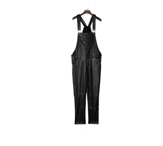 cf16bf0388e2 2019 Pant Men Unisex Leather Overalls PU Black Hip Hop Streetwear Faux Leather  Rompers Jumpsuit For Men Trousers VC2776 From Meirao