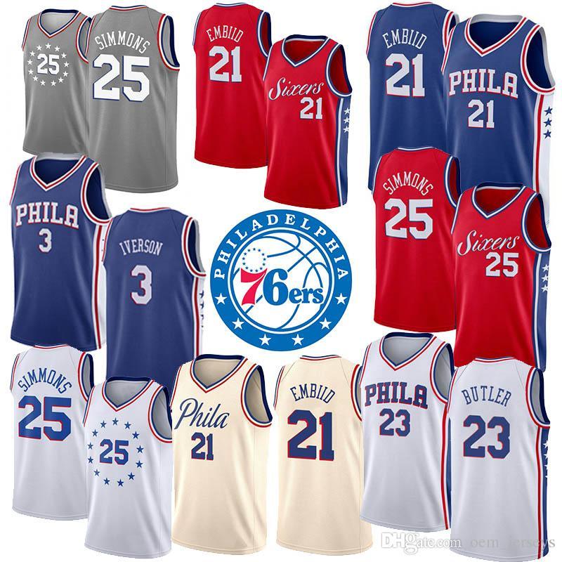 brand new 5e72e 49165 19 20 Cheap Mens Basketball Jerseys Philadelphia 3 Allen Iverson 76ers 21  Joel Blue Embiid 23 Jimmy White Butler 25 Ben Red Simmons Jersey