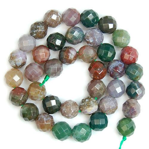 round wholesale Natural stone beads Faceted Natural Indian Agates Round For Jewelry Making 15 inches 4 6 8 10 12