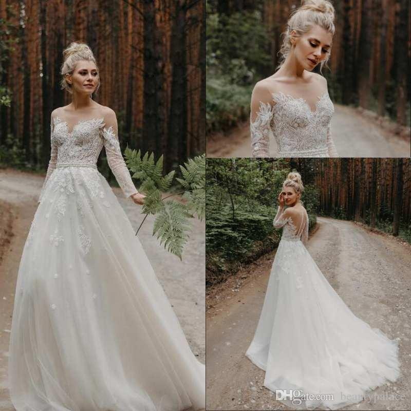 High Quality Wedding Dresses Jewel Neck A Line Appliqued Pearls Belt Long Sleeve Wedding Dress Sweep Train Cheap Vestidos De Novia