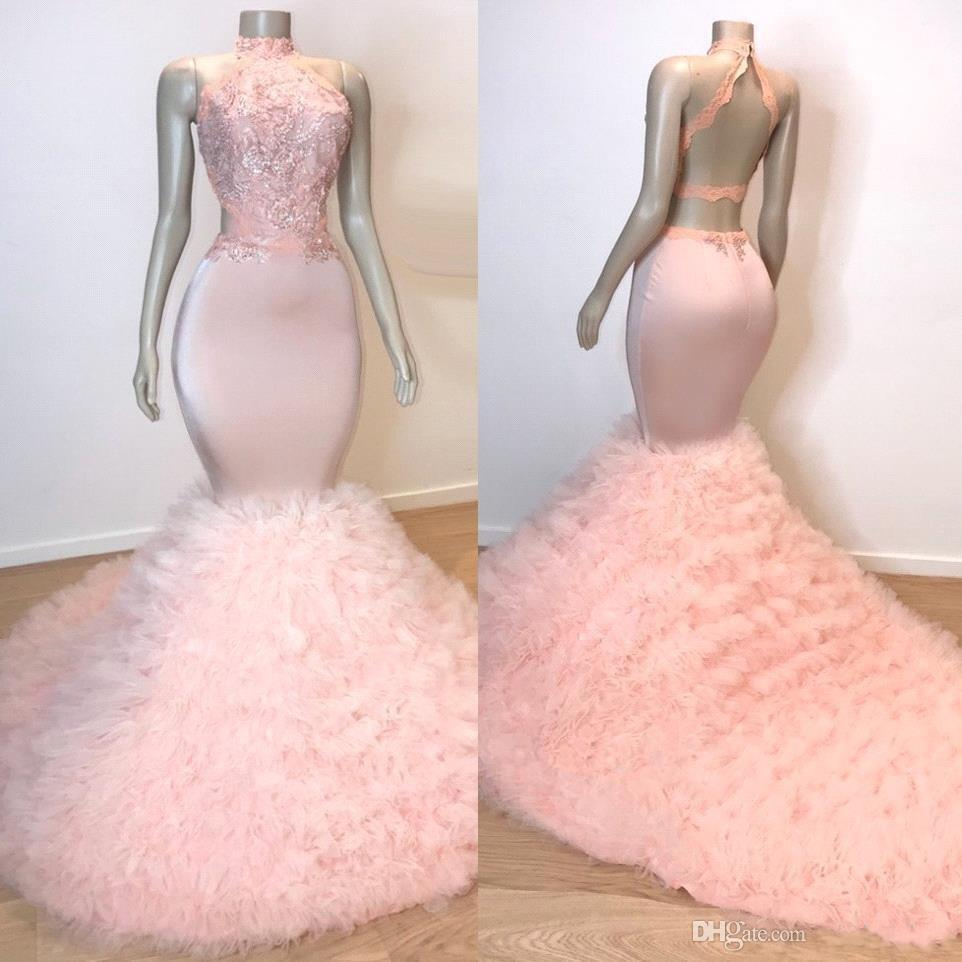 2019 Real Photos Pink Halter Tulle Mermaid Long Prom Dresses Lace Applique Ruffles Layered Sweep Train Evening Gowns Vestidos De Festa