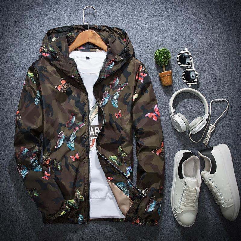 Men's Butterfly Printing Hooded bomber Wind Jacket Plus Size S- 3xl hoodies mens men polo jackets coat the north