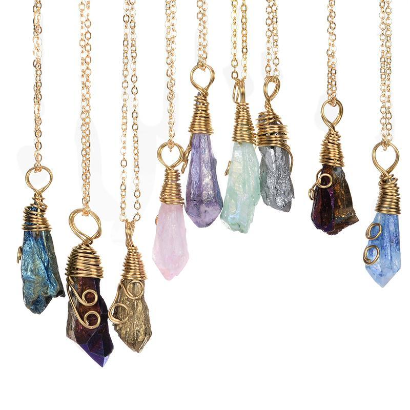 Wholesale-9pcs Wholesale Handmade Rainbow Wire Wrapped Raw Natural Stone Women Pendant Necklace Amethyst Pink Quartz Crystal Gem Necklaces