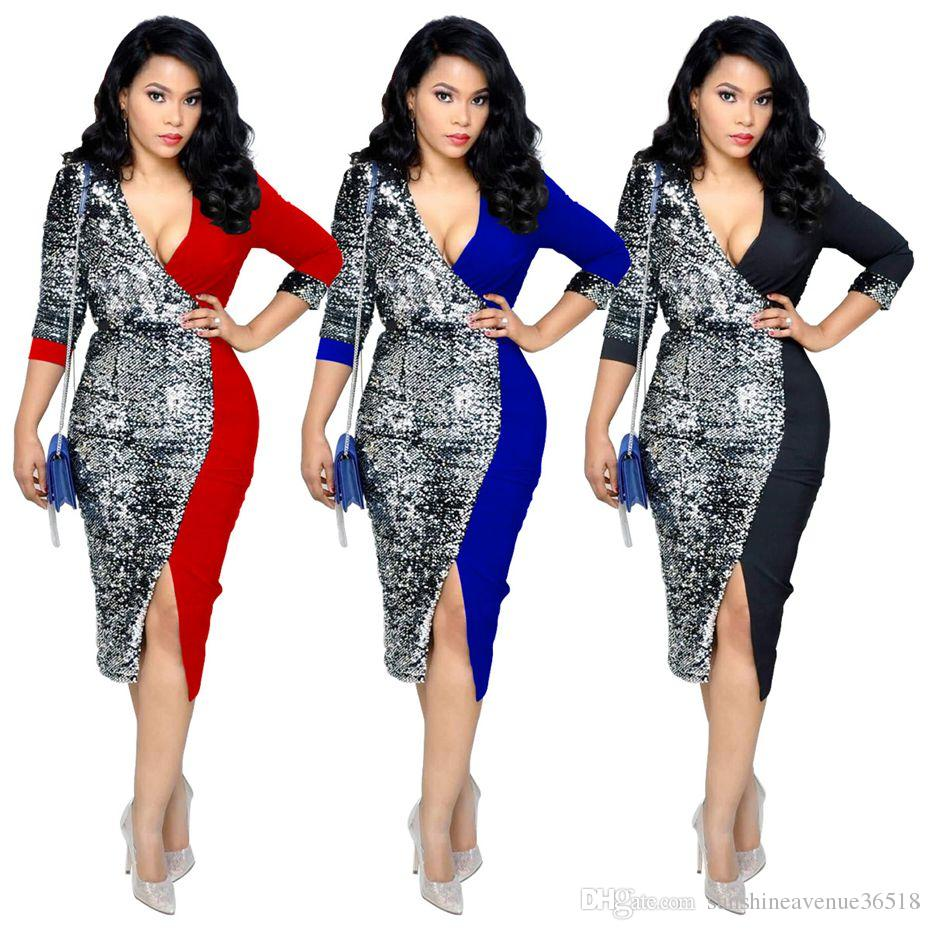 Sexy Sequin Dress Women Clothes 2019 New Arrival Black Red Bodycon Bandage  Dress OL Office Night Club Midi Party Dresses Womens Sequin Dress Women  Party ... e5b60f84b99a