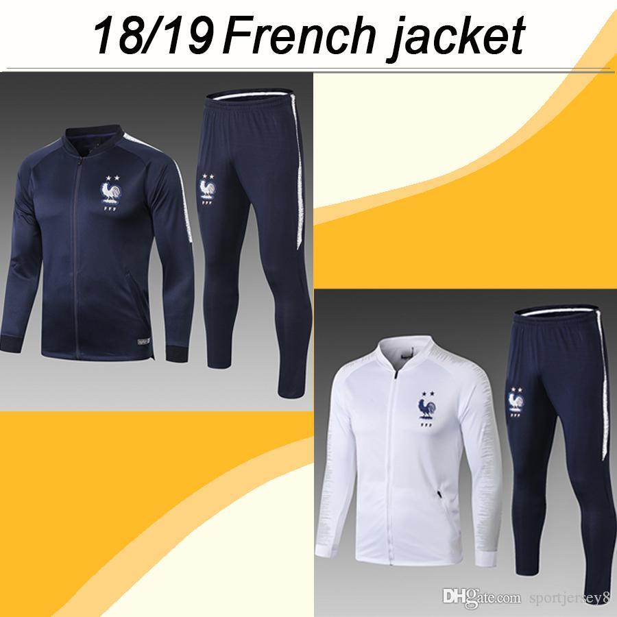 Compre 2018 19 Francia 2 Estrellas MBAPPE GRIEZMANN Conjunto De Chaqueta  POGBA GIROUD DEMBELE KANTE PAVARD Traje De Chaqueta Azul Blanco Para Hombre  Nuevos ... 910757f62d46d