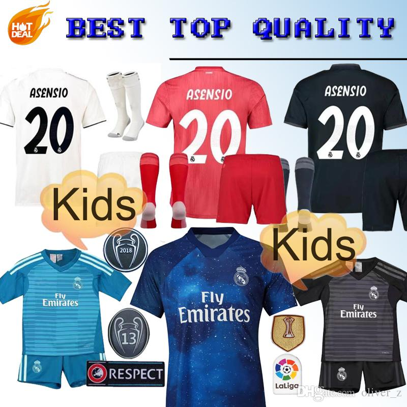 ba2c1acb585 2019 Real Madrid Kids Kit Soccer Jersey 2018 19 Home White Away 3RD Red Boy  Child Youth Mariano ISCO ASENSIO BALE KROOS Football Shirts