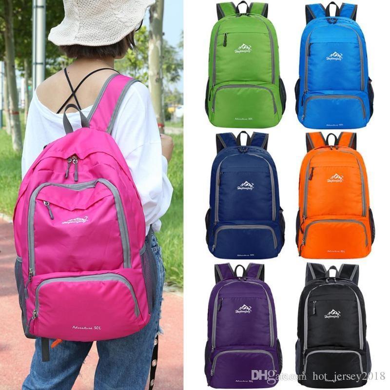 2019 30L Outdoor Folding Backpack Lightweight Splashproof Rucksack Portable  Zipper Travel Bags Waterproof Leisure Folding Bag  302107 From  Hot jersey2018 9dd085f3d64c0