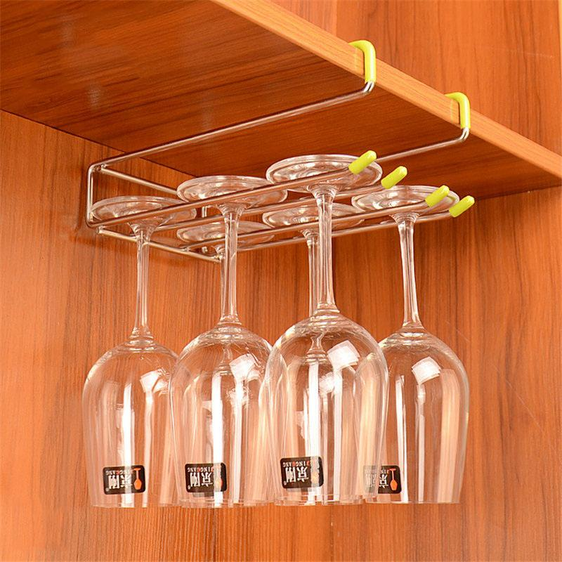 2019 304 Stainless Steel Cup Holder Wine Glass Hanging Shelf Wine