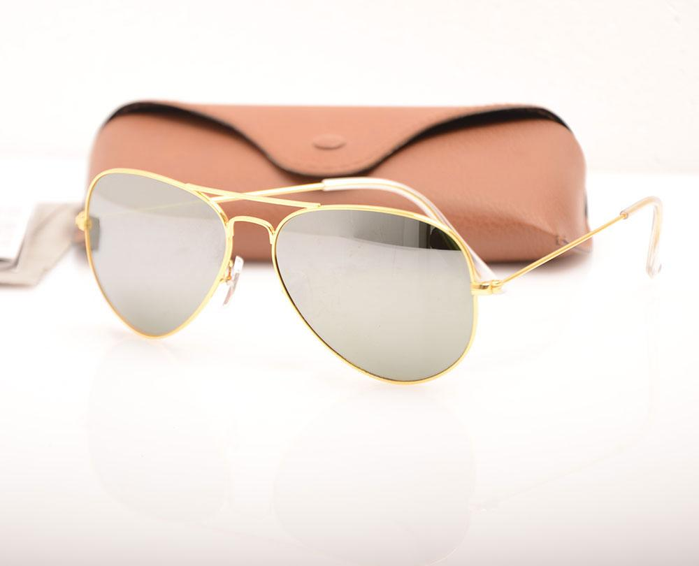 Top Quality Men Pilot Mirror sunglasses Glass Lens glasses Classic ray sunglasses Womans sun glasses Brand Designer glasses with Brown cases