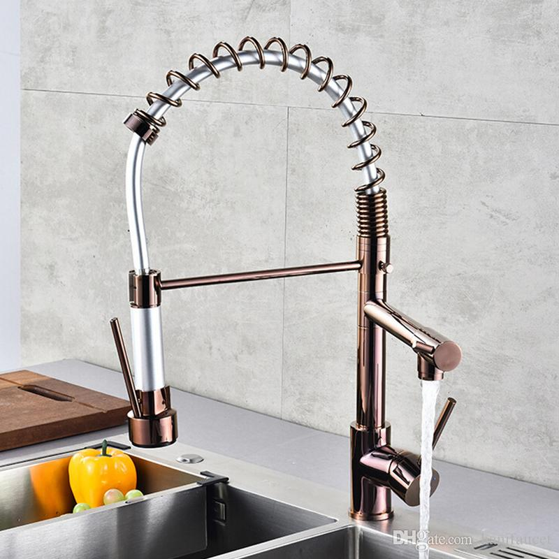 Lead-Free Contemporary Kitchen Sink Spring Faucet Single Handle Solid Brass Kitchen Faucets with Pull Down Sprayer, Brushed Nickel
