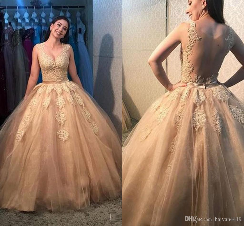 34b5b2991b2 2019 Gold Ball Gown Quinceanera Dresses V Neck Lace Appliques Sweet 16 See  Through Back Plus Size Tulle Puffy Prom Evening Gowns Wear Dress Gowns  Dresses ...