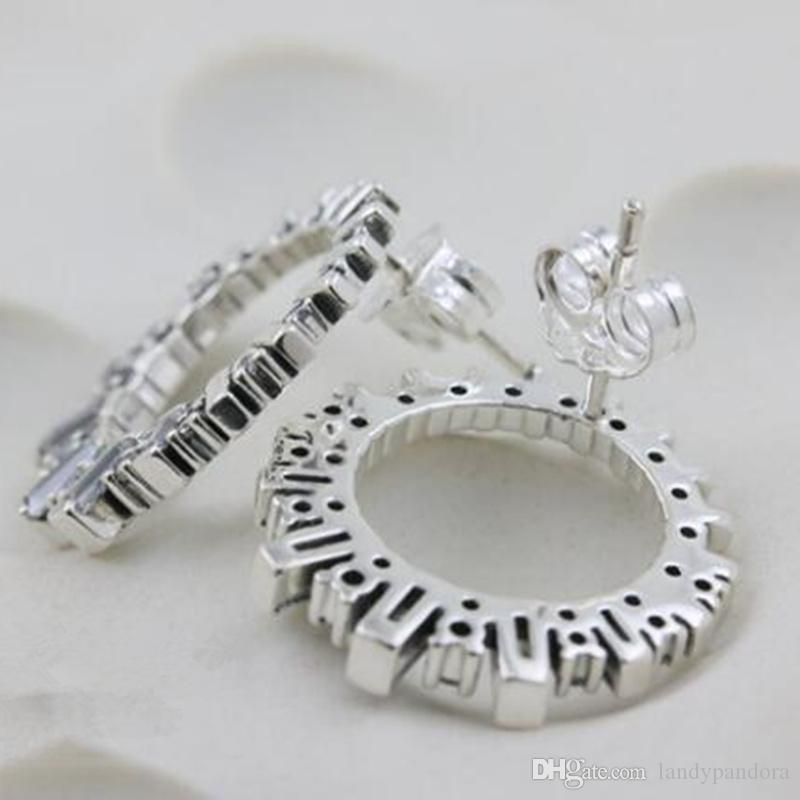 2018 New 100% S925 Sterling Silver European Pandora Style Jewelry Glacial Beauty Stud Earrings with Women Jewelry