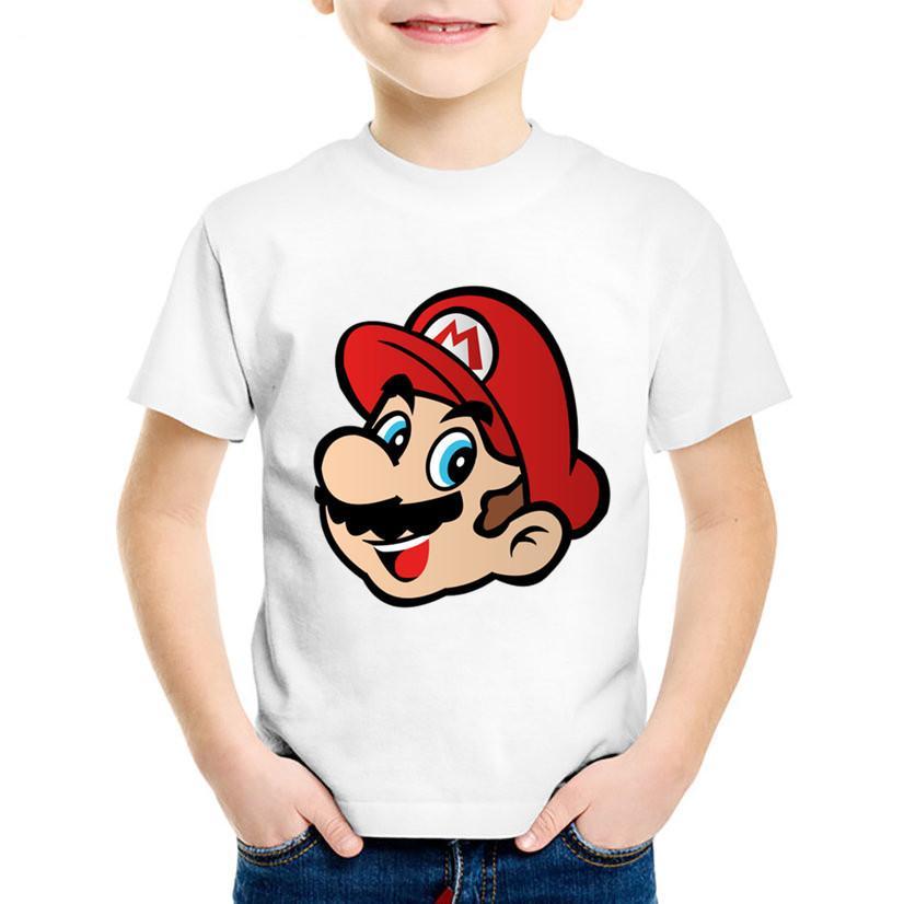 0a374cfe0 ... De Dibujos Animados Para Niños Super Mario Head Camisetas Divertidas Niños  Camisetas De Manga Corta De Verano Niños   Niñas Tops Casual Ropa De Bebé