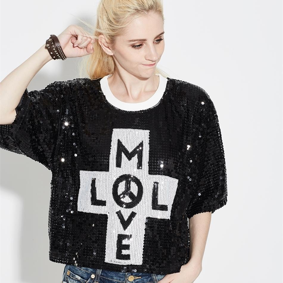 Sparkle Oversized Loose Women Letter Sequin T Shirt Top Bling Glitter Casual Clubwear Hip Hop Half Sleeve Mesh Street T-Shirt
