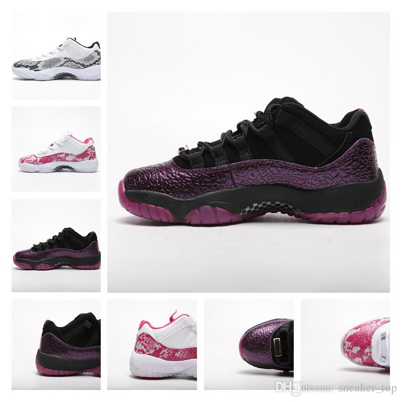 the best attitude 6f324 5bc53 New Mens 11s basketball shoes Low Pink Snakeskin Purple Black Top quality  women Athletic Trainers Sports Shoes Designer Sneakers with box