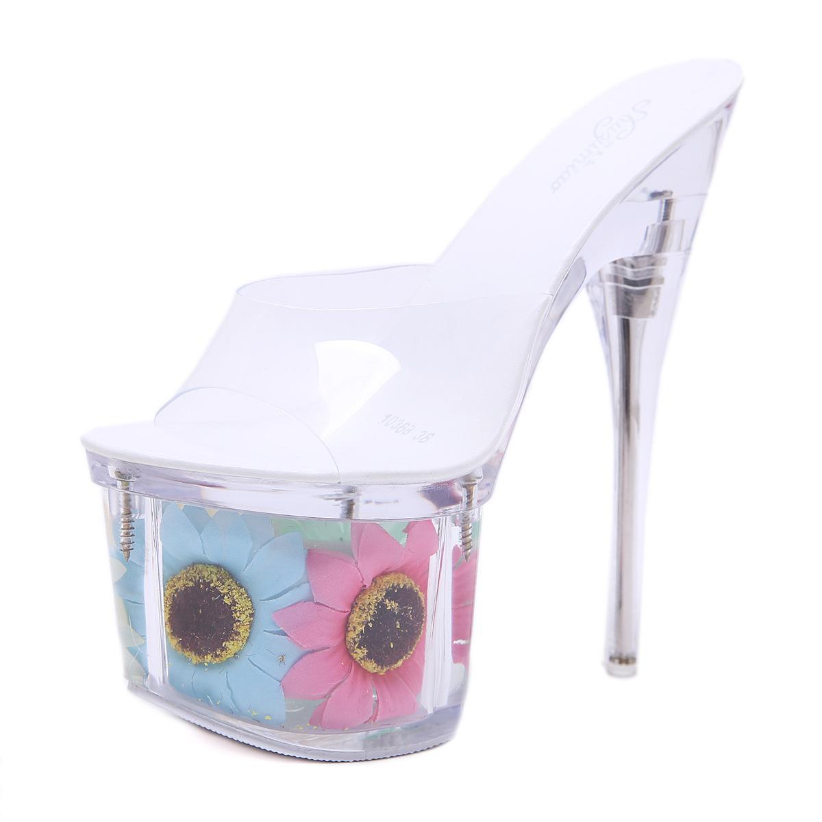 PVC Jelly Sandals High Heels Summer Women Wedding Shoes Slip On Transparent Platform  Sandals With Flower Clear Shoes Plus Size43 Blue Shoes Cheap Sandals ...