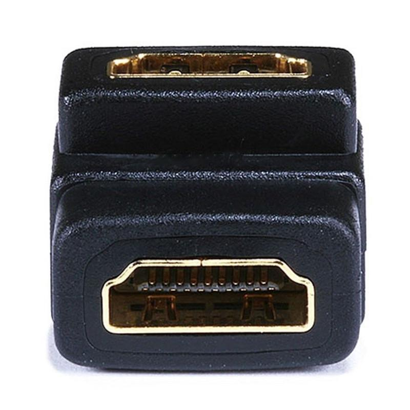 Gold Plated HDMI Female to HDMI Female 90 Degree Adapter HDMI Extender Cable Converter for HDTV Connector