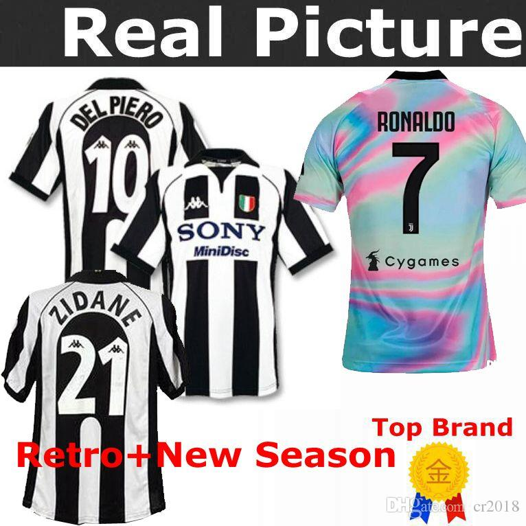 watch bf21e f08a5 TOP 1997-1998 Juventus Jersey Retro ZIDANE 21 DEL PIERO 21 INZAGHI 9 Home  away third RONALDO 7 HIGUAIN 9 PIRLO 21 Football shirts