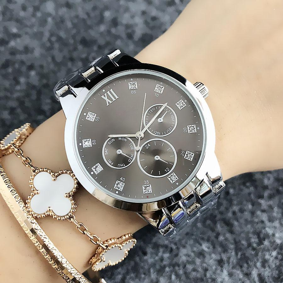 Reloj de la manera Marca para Girl 3 esferas de acero del estilo de cuarzo banda de metal de las mujeres relojes TOM6670